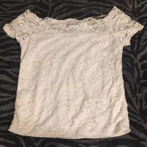 White laced short sleeved shirt